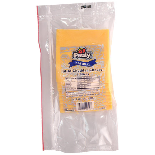Pauly Natural Mild Cheddar Cheese Slices, 8 oz