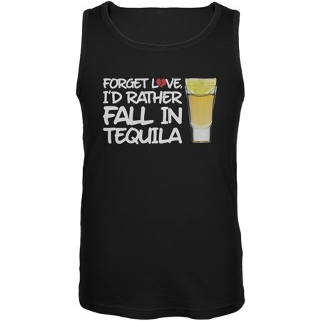 Forget Love, I'd Rather Fall in Tequila Black Mens Tank Top (Forged Men)
