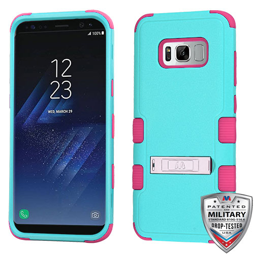 Samsung Galaxy S8 Case - Wydan TUFF Hybrid Hard Shockproof Case Kickstand Protective Heavy Duty Impact Skin Cover Teal on Pink