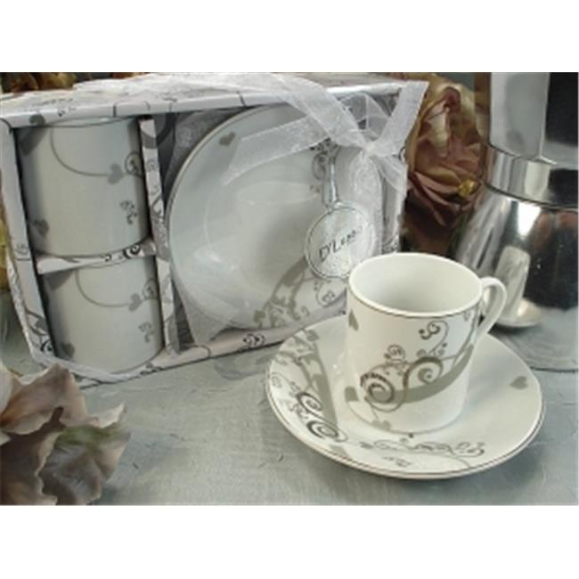 DLusso Designs 2D50 2 Cup 2 Saucer Pvc Box Modern, Pack Of - 4.