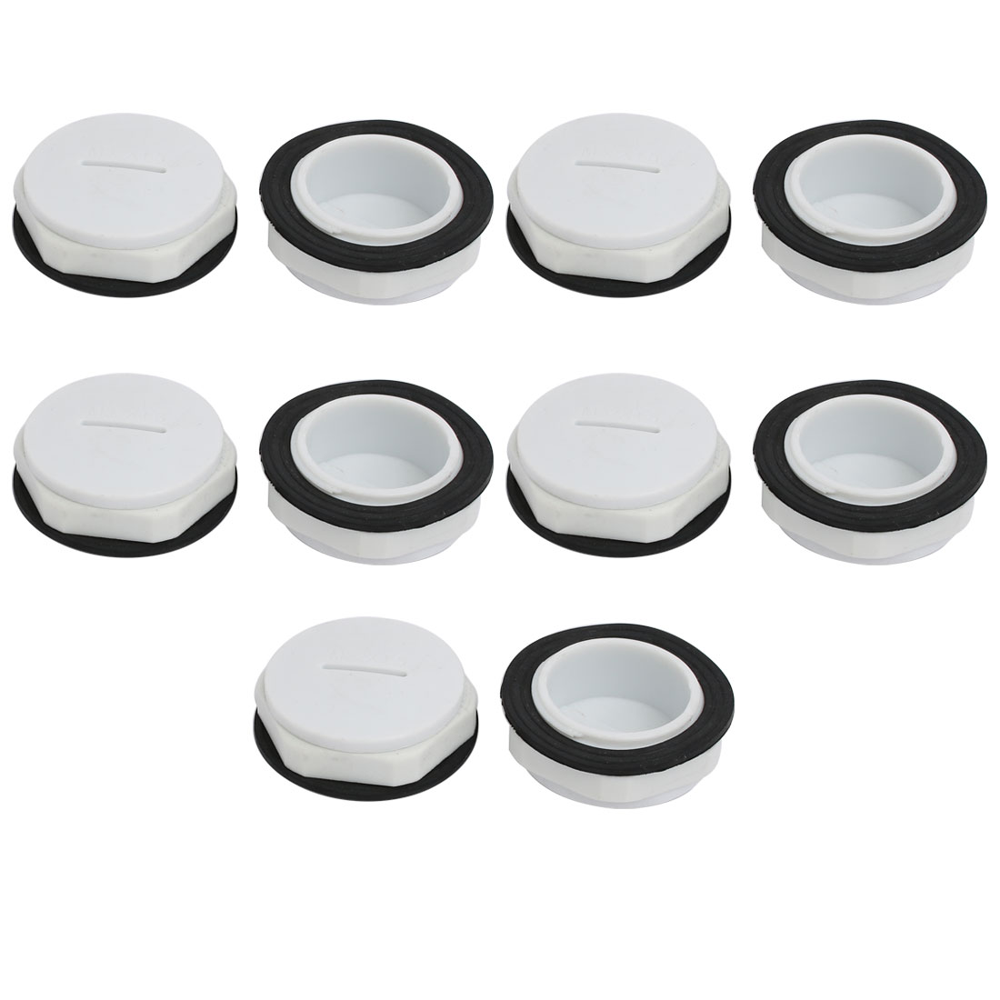 M32 Nylon Male Threaded Cable Gland Screw End Cap Cover Gray 10pcs