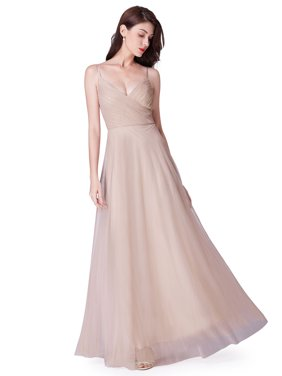 Ever-Pretty Women's V-Neck Ruched Tulle Long Prom Wedding Party Bridesmaid Dresses for Women 73692 Blush US4