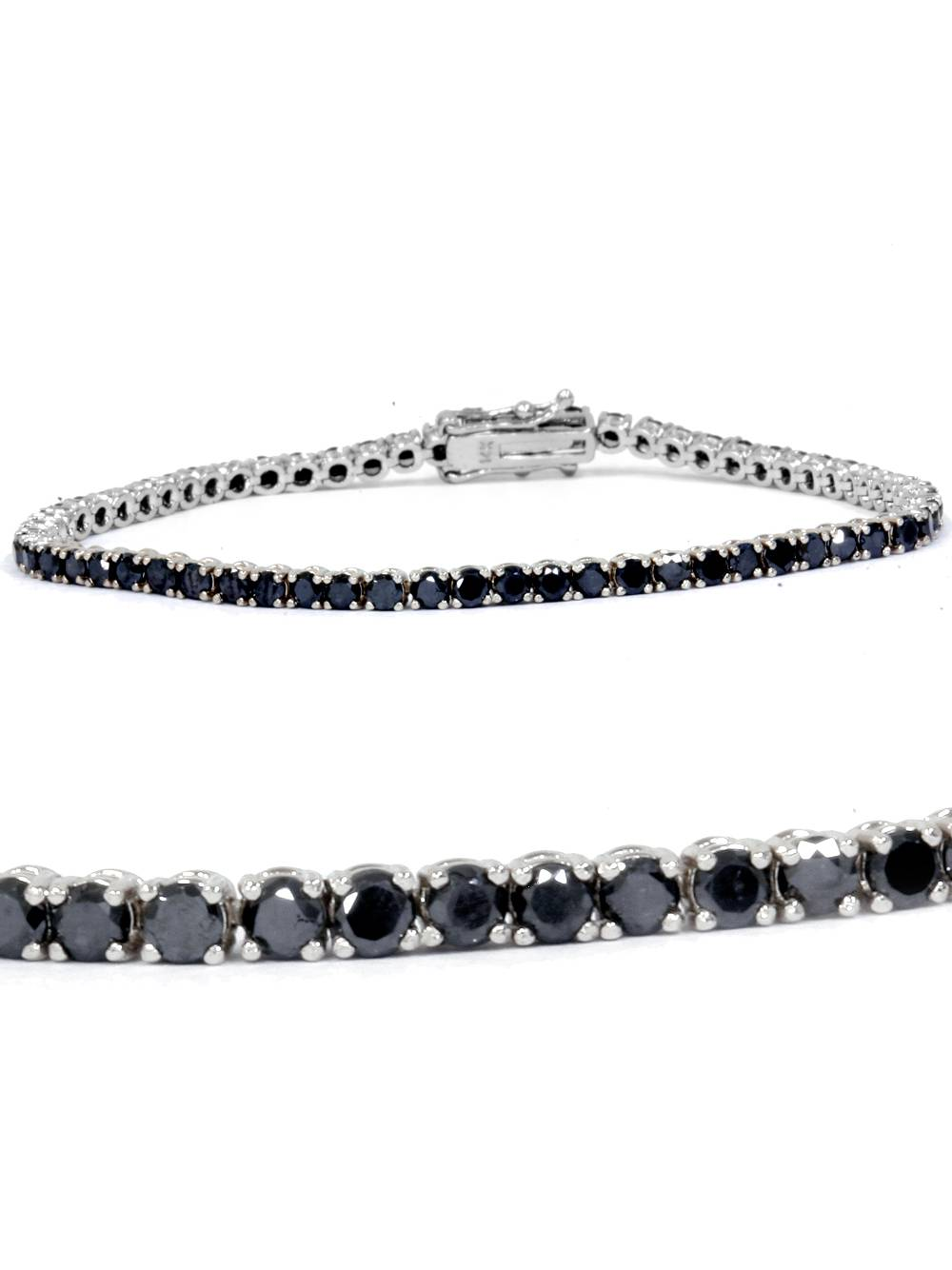 3ct Treated Black Diamond Tennis Bracelet 14K White Gold 7""