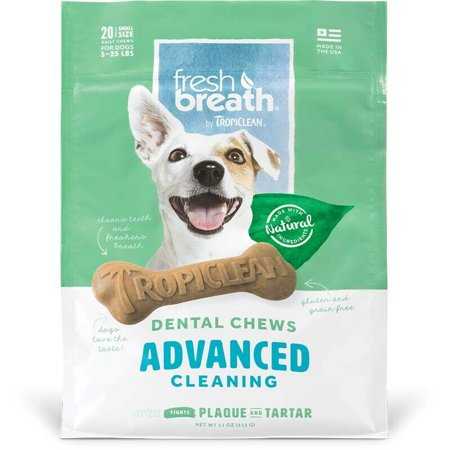 Natural Dog Chew Treats Healthy Fresh Breath Dental Bones Choose Size & Formula (Advanced Cleaning - Small 20ct)