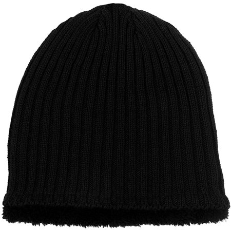 Black Basic Knit Beanie - Polar Wear Men's Sherpa Fleece Lined Knit Beanie in Black, Navy, & Gray