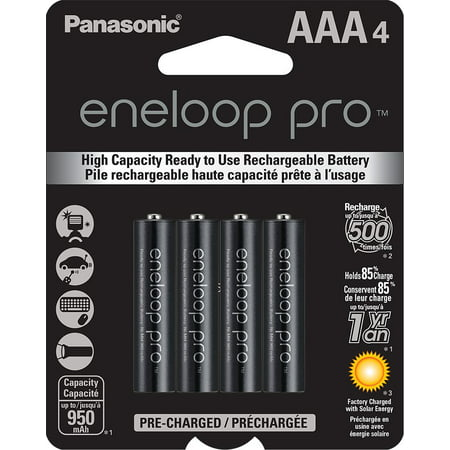 Eneloop Aaa Batteries - Panasonic BK-4HCCA4BA eneloop Pro AAA New High Capacity Ni-MH Pre-Charged Rechargeable Batteries, 4 Pack
