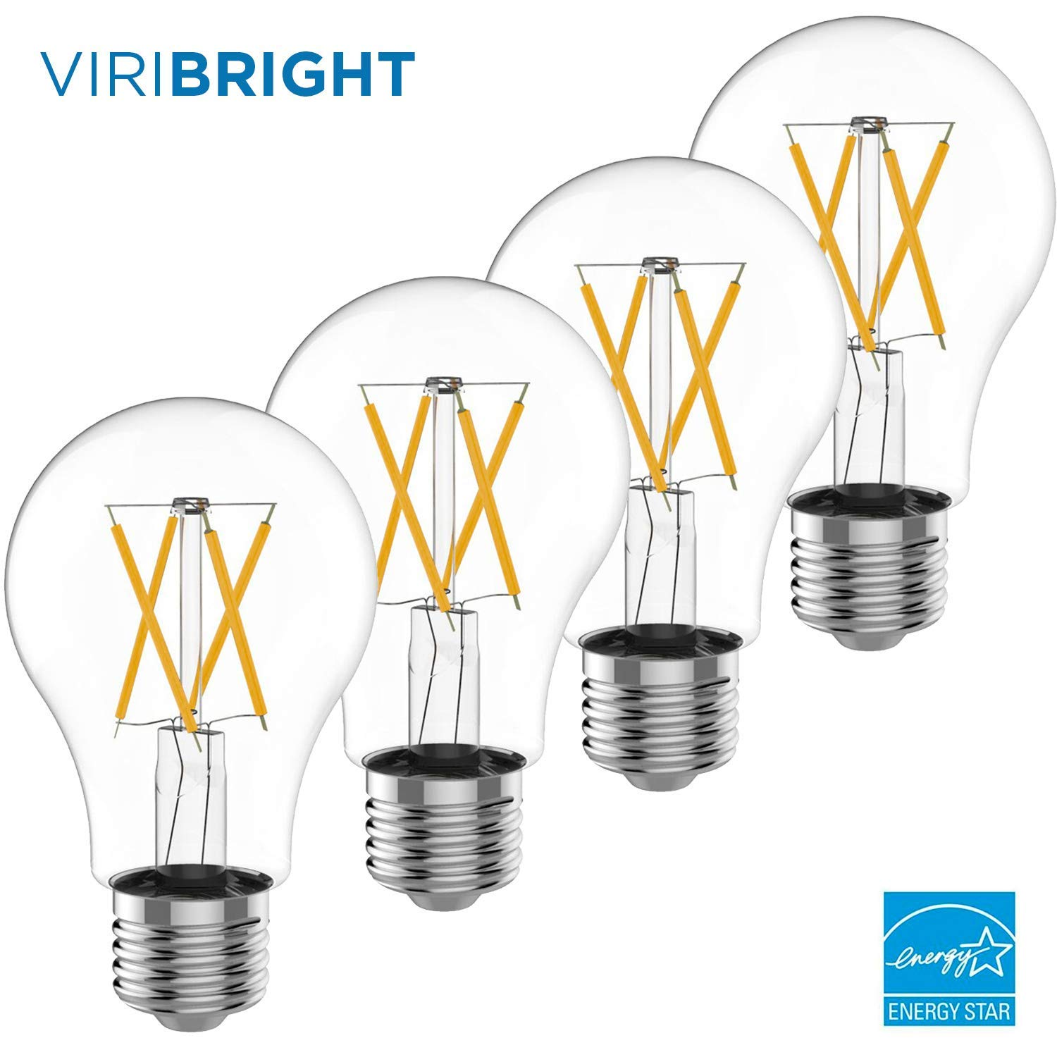 60W Equivalent Filament LED Light Bulb, 2700K Dimmable (4-Pack)