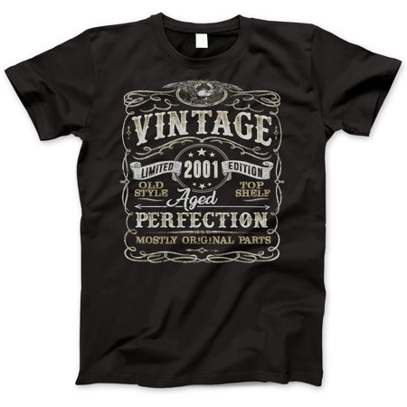 18th Birthday Gift T-Shirt - Born In 2001 - Vintage Aged 18 Years Perfection - Short Sleeve - Mens - Black T Shirt - (2019 Version) Small