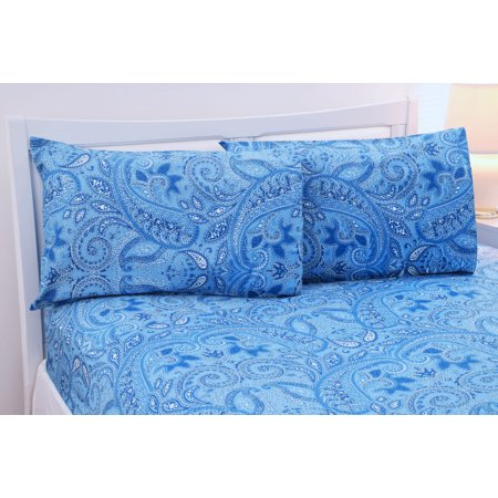 Royal Blue Paisley - Paisley Collection 500 Thread Count Egyptian Cotton Bed Sheets 4 Piece Set - 5 Colors - Queen / Royal Blue