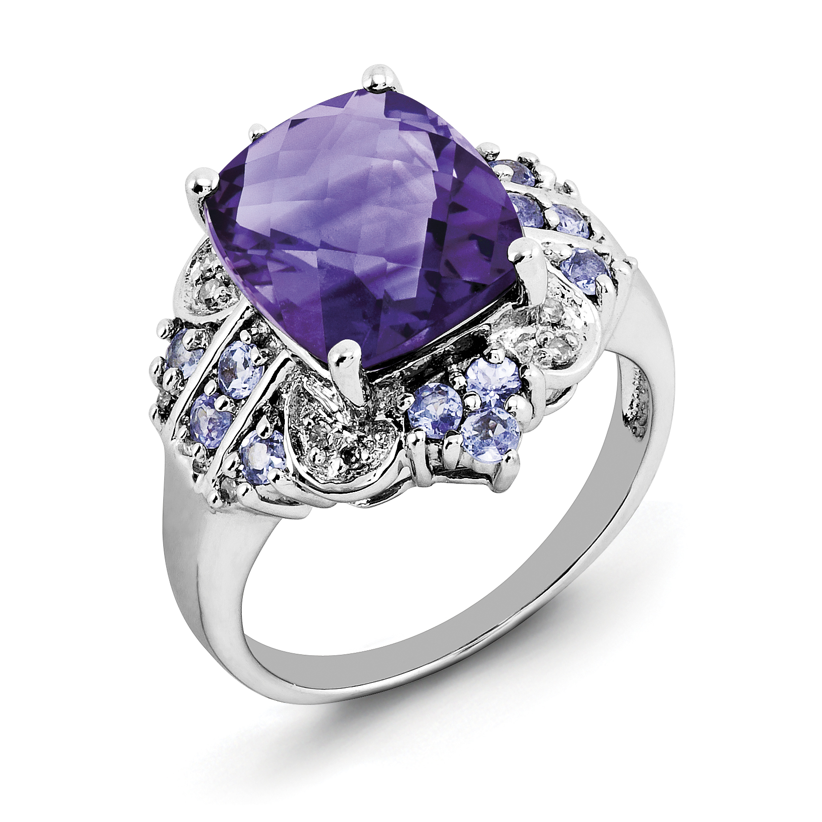 Sterling Silver Rhodium-plated Amethyst, Tanzanite & Diamond Ring by CoutureJewelers