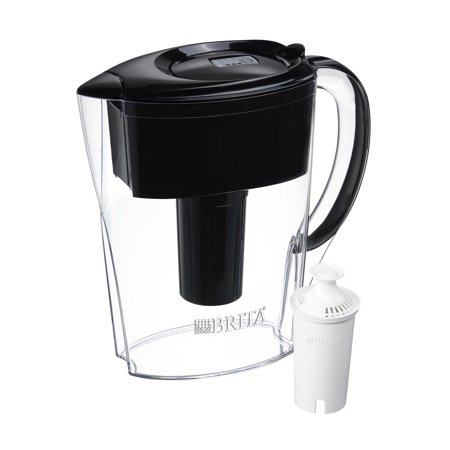 Brita Small 6 Cup Space Saver Water Pitcher with Filter - BPA Free - Black (Brita Space Saver 6 Cup Pitcher)