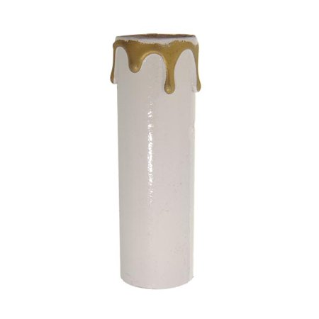 B&P Lamp® Standard Base, Plastic Candle Cover, White/Gold