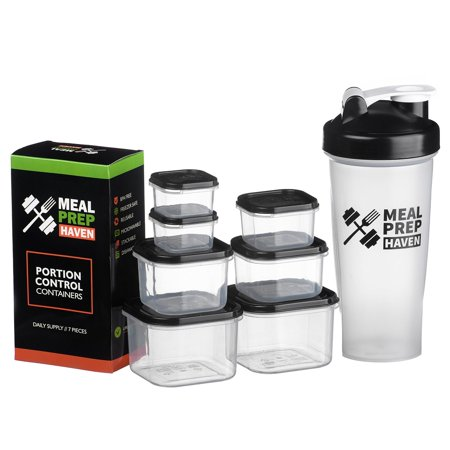 meal prep haven 7 piece portion control container kit with guide and protein shaker bottle. Black Bedroom Furniture Sets. Home Design Ideas