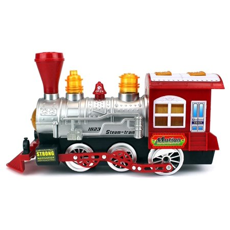 Steam Train Locomotive Engine Car Bubble Blowing Bump & Go Battery Operated Toy Train w/Lights & Sounds ()