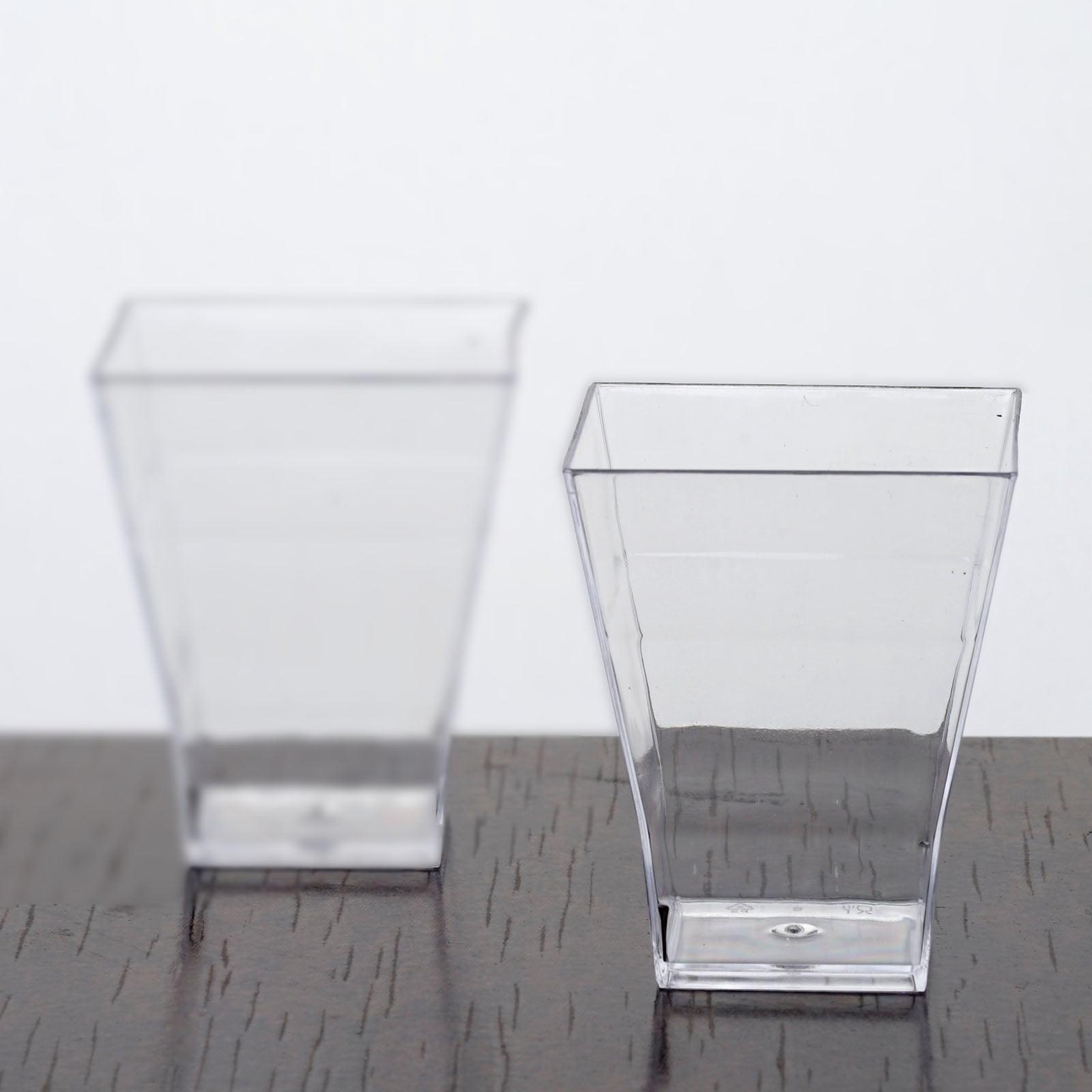 Efavormart 120 Pcs Clear Super Chic Squared 2oz Disposable Plastic Shot Glass by