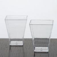 Efavormart 120 Pcs Clear Super Chic Squared 2oz Disposable Plastic Shot Glass