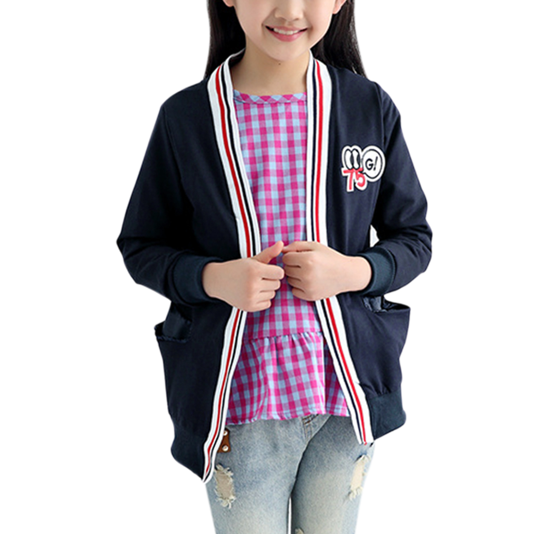Girls Numbers Stitching Front Opening Cardigan ids Navy Blue 10