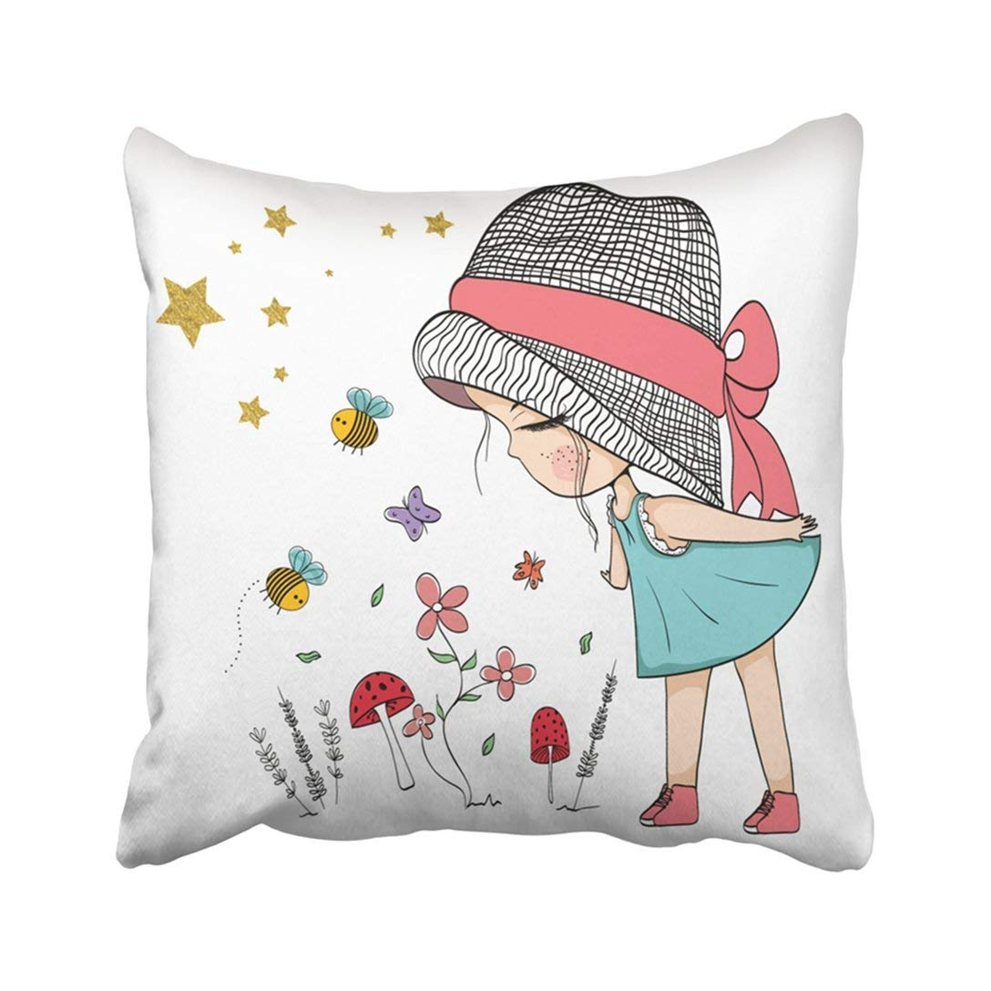BPBOP Pink Summer Cute Girl With Flowers White Baby Floral Ladybug Kids Cartoon Beautiful Beauty Pillowcase Throw Pillow Cover 18x18 inches