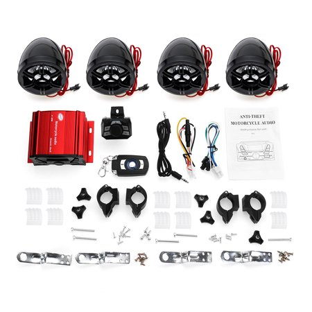 100W Motorcycle Speaker and Amplifier System Anti-thef 4 Speakers,IN- Handlebar Mount ATV Mini Stereo Audio Receiver Kit Set