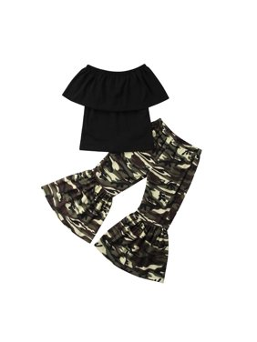Newborn Toddler Baby Girls kids clothes Summer Off-shoulder solid Ruffle sleeveless pullover Tops camouflage Flared Pants 2pc cotton summer outfits