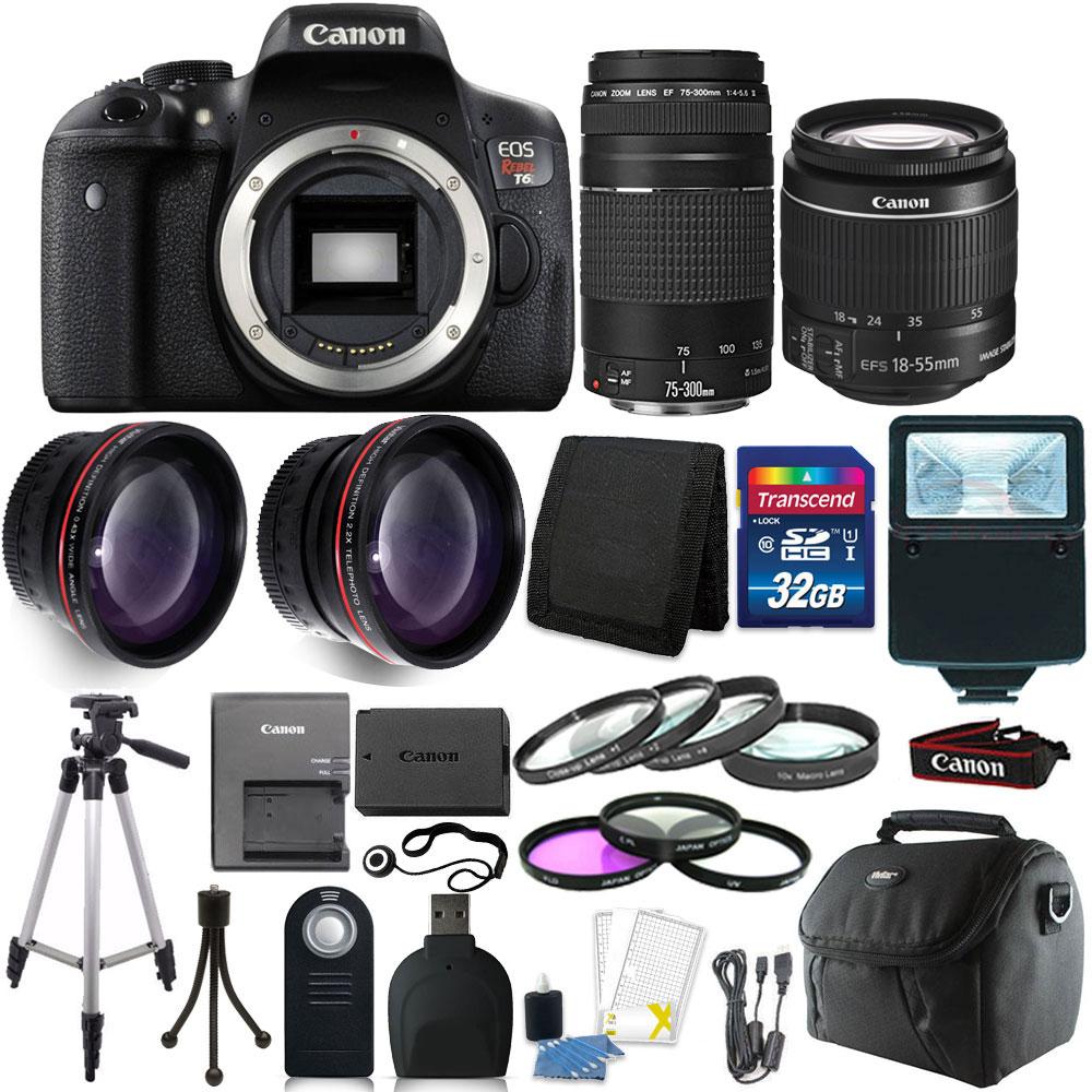 Canon EOS Rebel T6 DSLR Camera + 18-55mm + 75-300mm Lens + 32GB