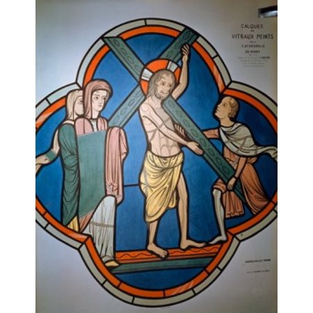 Christ Carrying Cross stained glass 12th Century Canvas Art -  (18 x 24)