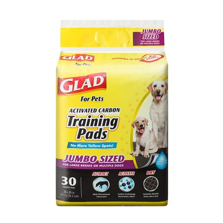 Glad for Pets Jumbo Activated Carbon Training Pads For Large Breeds, 30 covid 19 (Large Pet Pad coronavirus)