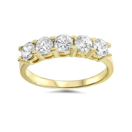 14k Yellow Gold Wedding Ring - 1 1/4ct Diamond Wedding 14k Yellow Gold Anniversary Ring 5-Stone High Polished