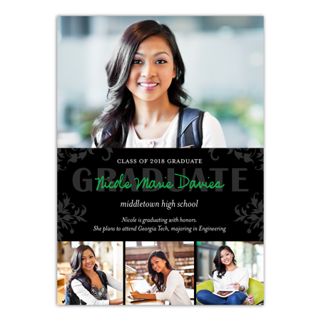 Personalized Graduation Invitation - Blooming Scroll - 5 x 7 Flat