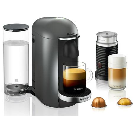 Breville Nespresso VertuoPlus Deluxe Coffee & Espresso Single-Serve Machine in Titanium and Aeroccino Milk Frother in (Best Milk For Nespresso)