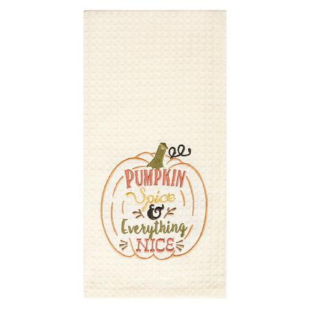 Ritz Embr Waffle Kitchen Towel 18x28 PUMPKIN (Linden Spice)