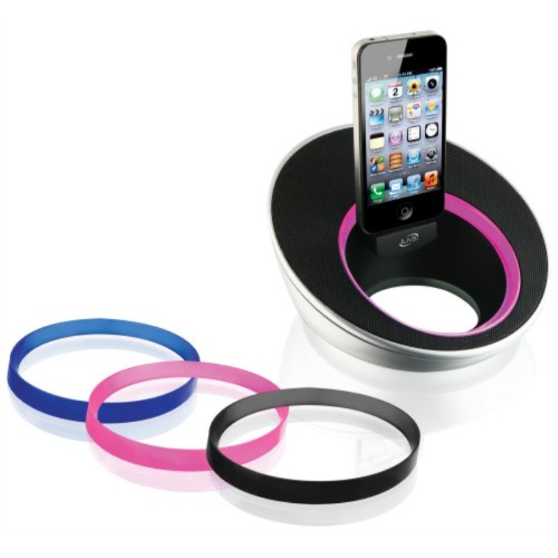 iLive Play and Charge Speaker System with Interchangeable Color Rings And iPod/iPhone Dock - Black