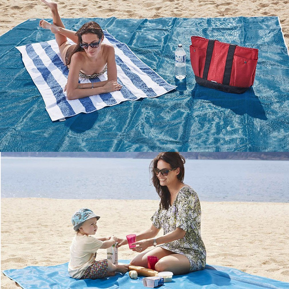 1.5x2m Beach Mat Picnic Blanket Foldable Baby Climb Plaid Blanket Outdoor Sand Free... by