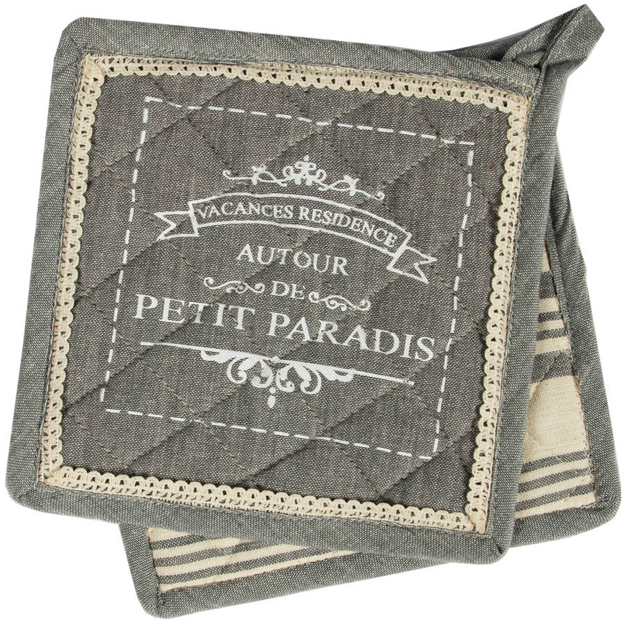 Hotel Petit Paradis Pair of Pot Holders, Grey