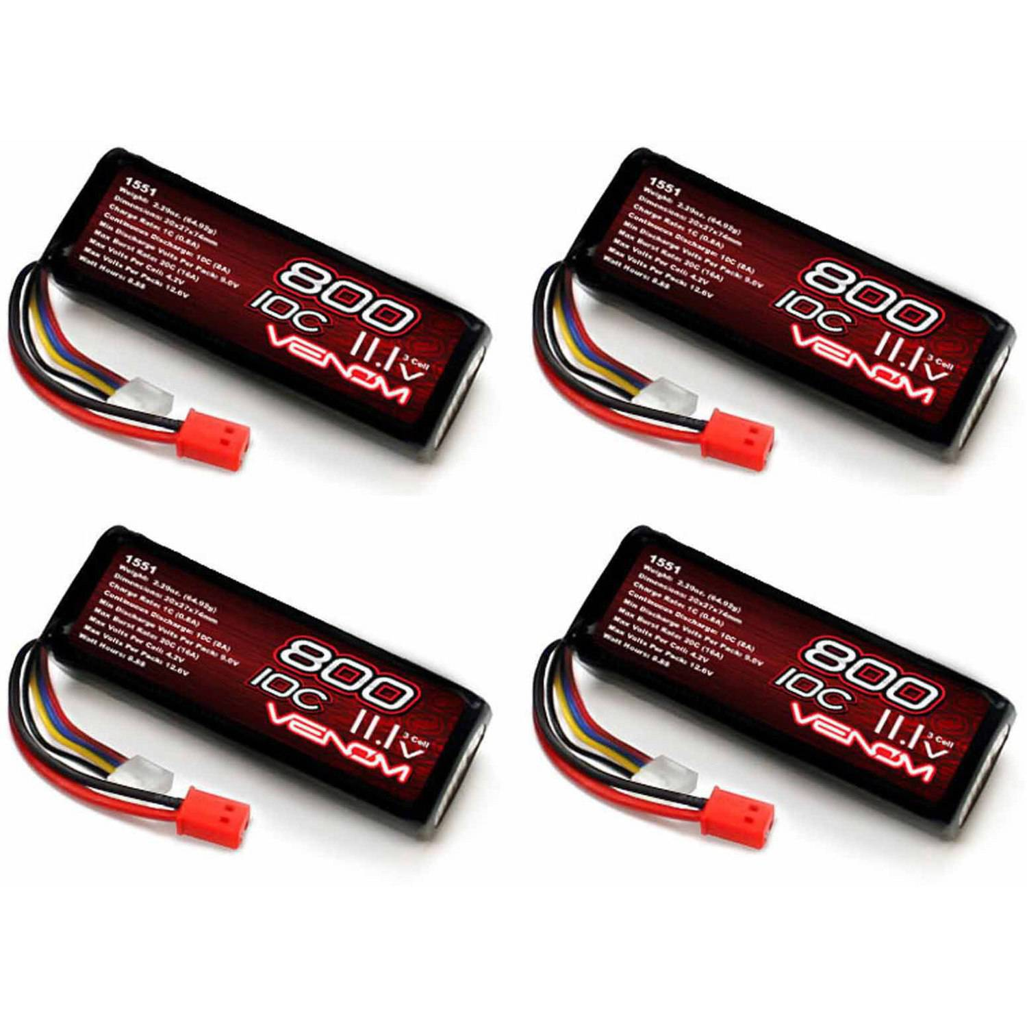 Venom 10C 3S 800mAh 11.1 LiPo Battery with Micro Molex Plug x4 Packs