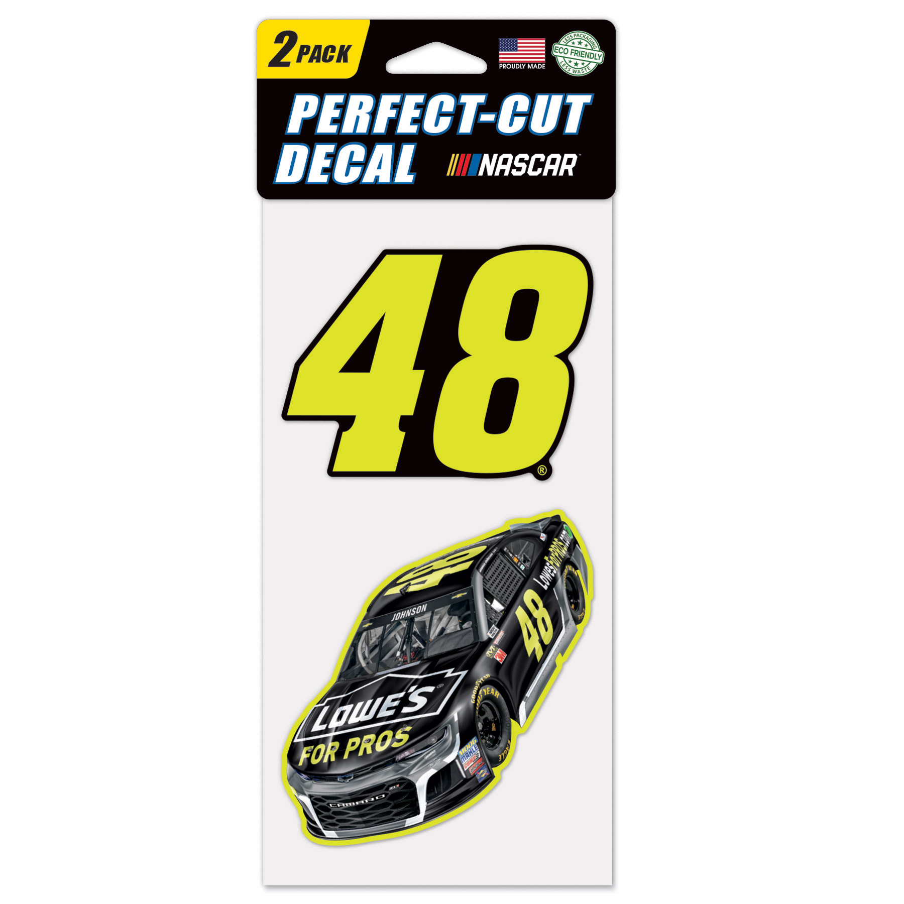 "Jimmie Johnson WinCraft 2018 2-Pack 4"" x 8"" Perfect Cut Colored Decal Sheet - No Size"