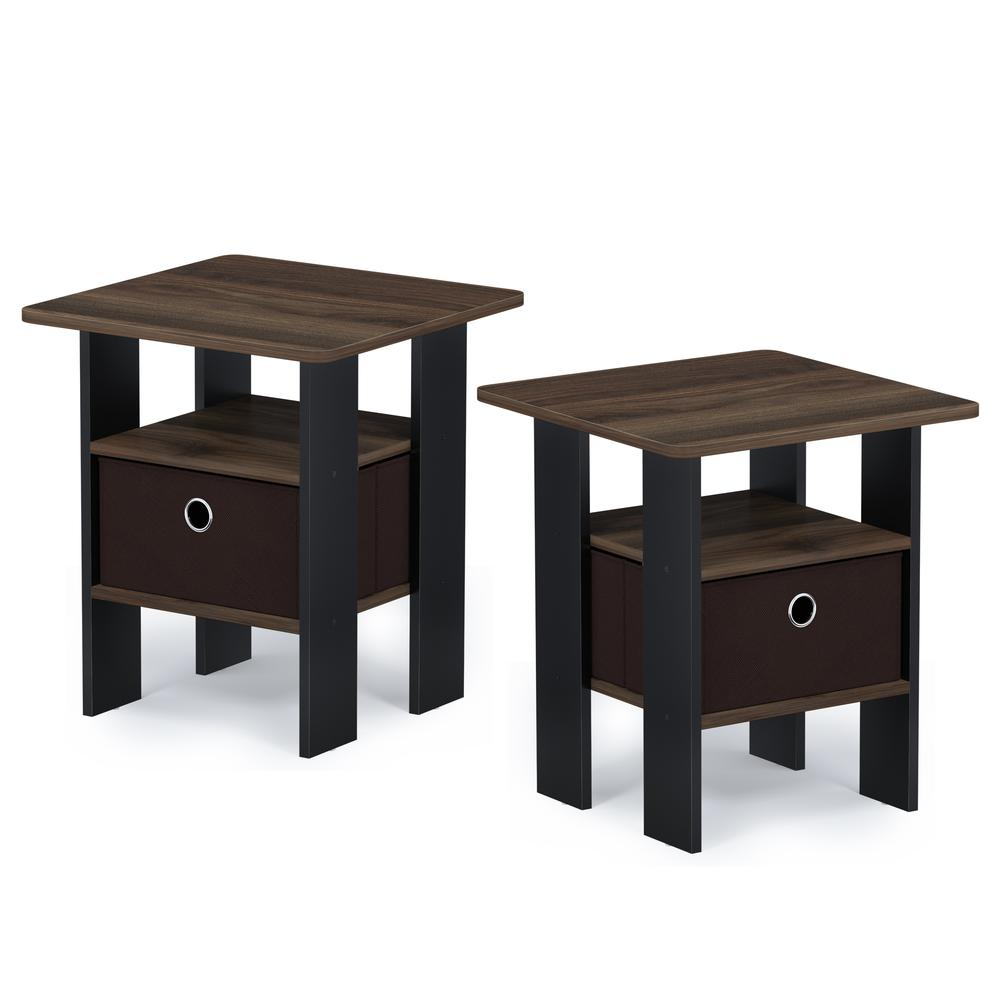 Furinno Andrey End Table Nightstand with Bin Drawer, Columbia Walnut/Dark Brown, Set of 2