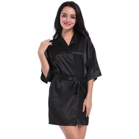 EFINNY - Womens Robe Nightwear Letters Emulation Silk Bathrobe Bridesmaid  Wedding Kimono - Walmart.com ea60e9132