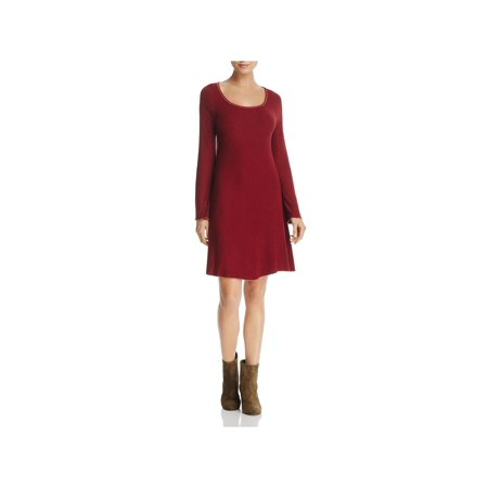 Three Dots Womens Ribbed Knit Long Sleeves Casual (Dotted Knit Dress)