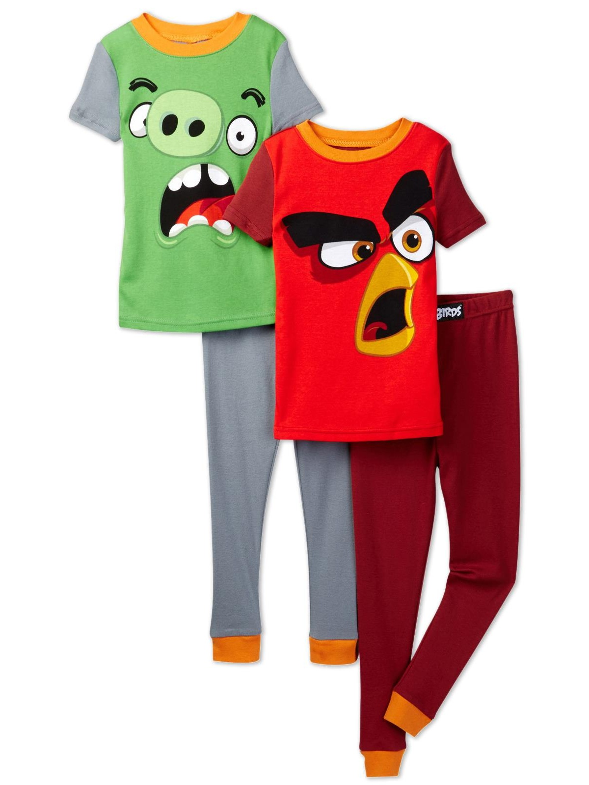 Angry Birds Big Boys' 4pc Cotton Sleepwear Set, Multicolor, Size: 10
