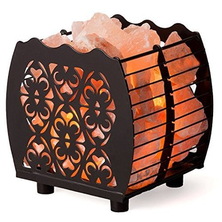 CRYSTAL DECOR Natural Himalayan Hybrid Wired Cube Basket Pink Salt Lamp in a Modern and Contemporary Design with Dimmable Cord - Choose Your Design