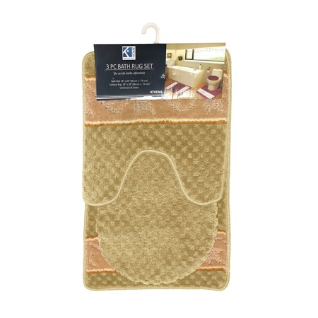 Athena Waffle Texture Design 3 Piece Bathroom Rug Set