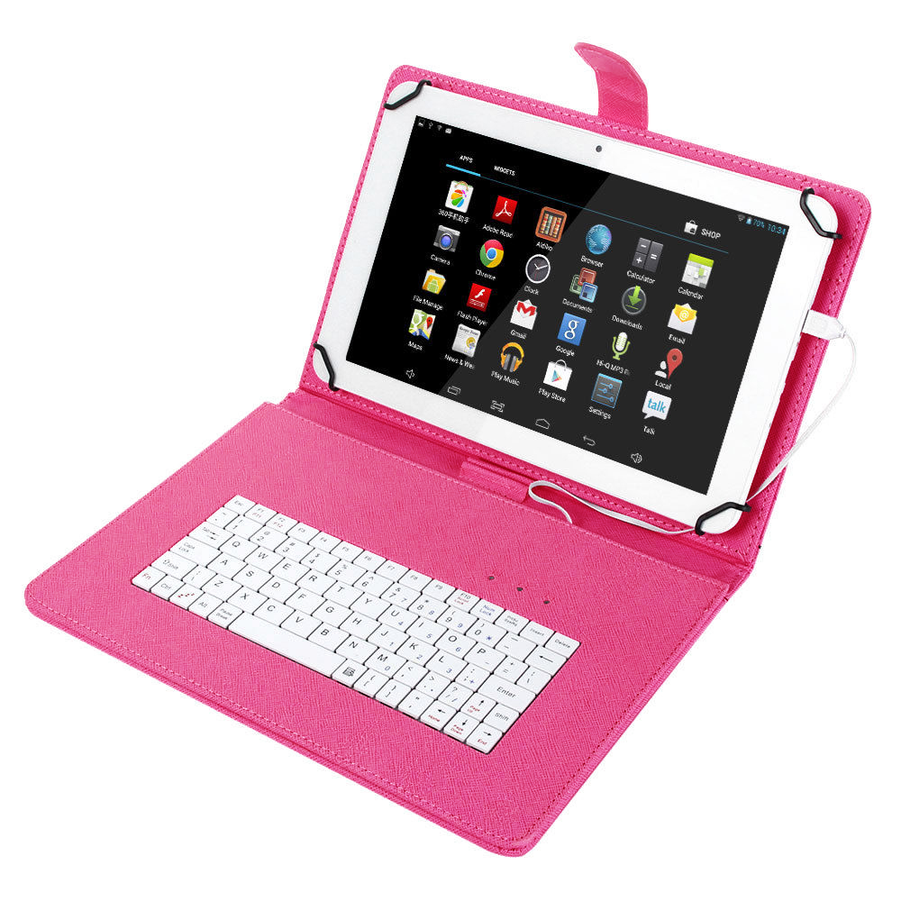 "Universal 8"" Tablet Flip PU Leather Folio Keyboard Case Stand Cover"