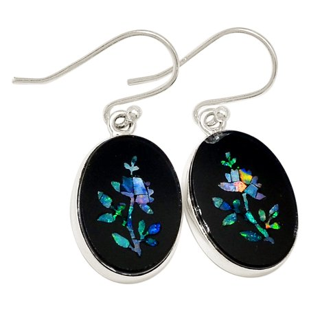 Xtremegems Flower Australian Opal In Black Onyx 925 Silver Earrings Jewelry 18889e