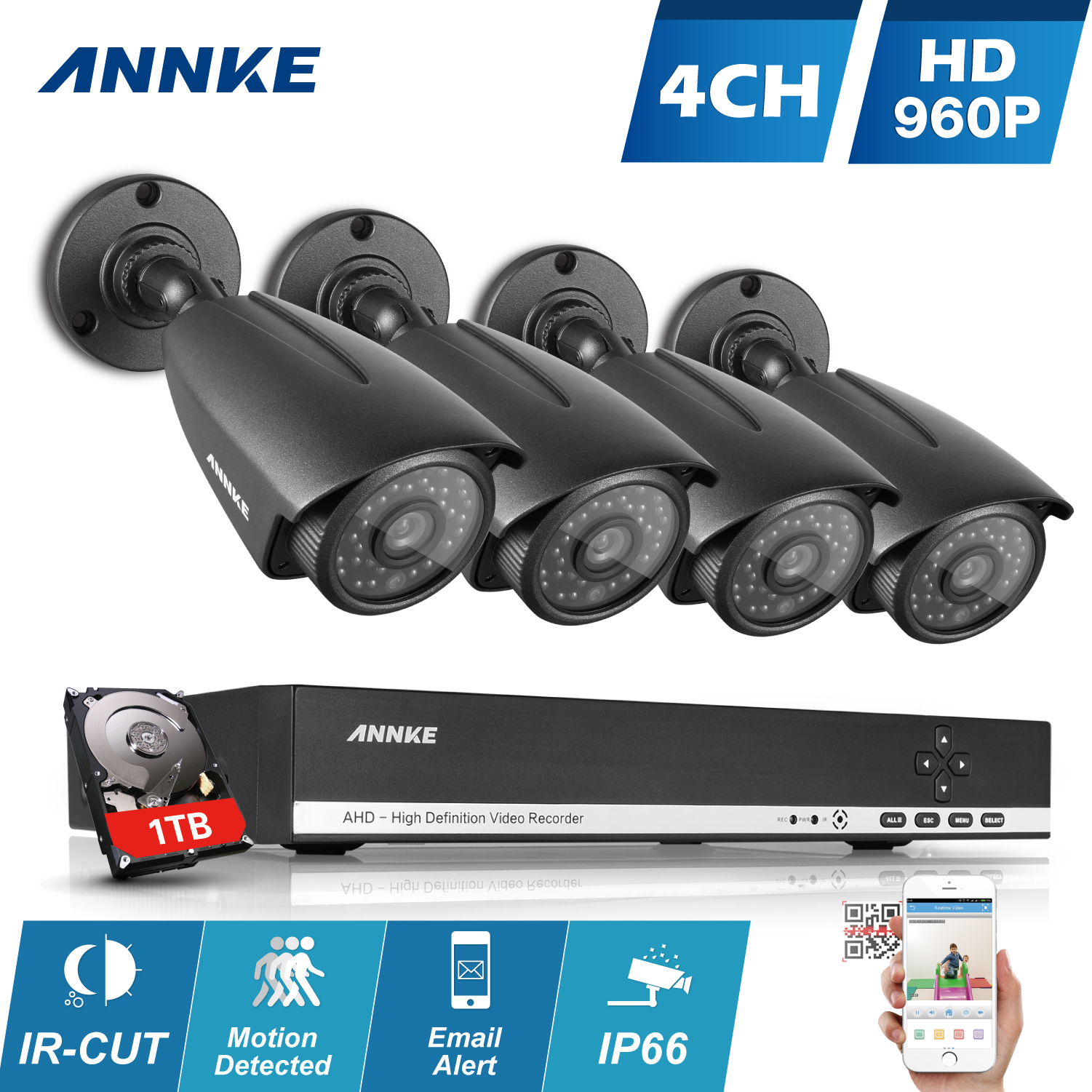 ANNKE 4CH 720P Security Camera System with 4x HD 1280*720P CCTV Bullet Security Camera For Outdoor/Indoor Use 1TB HDD