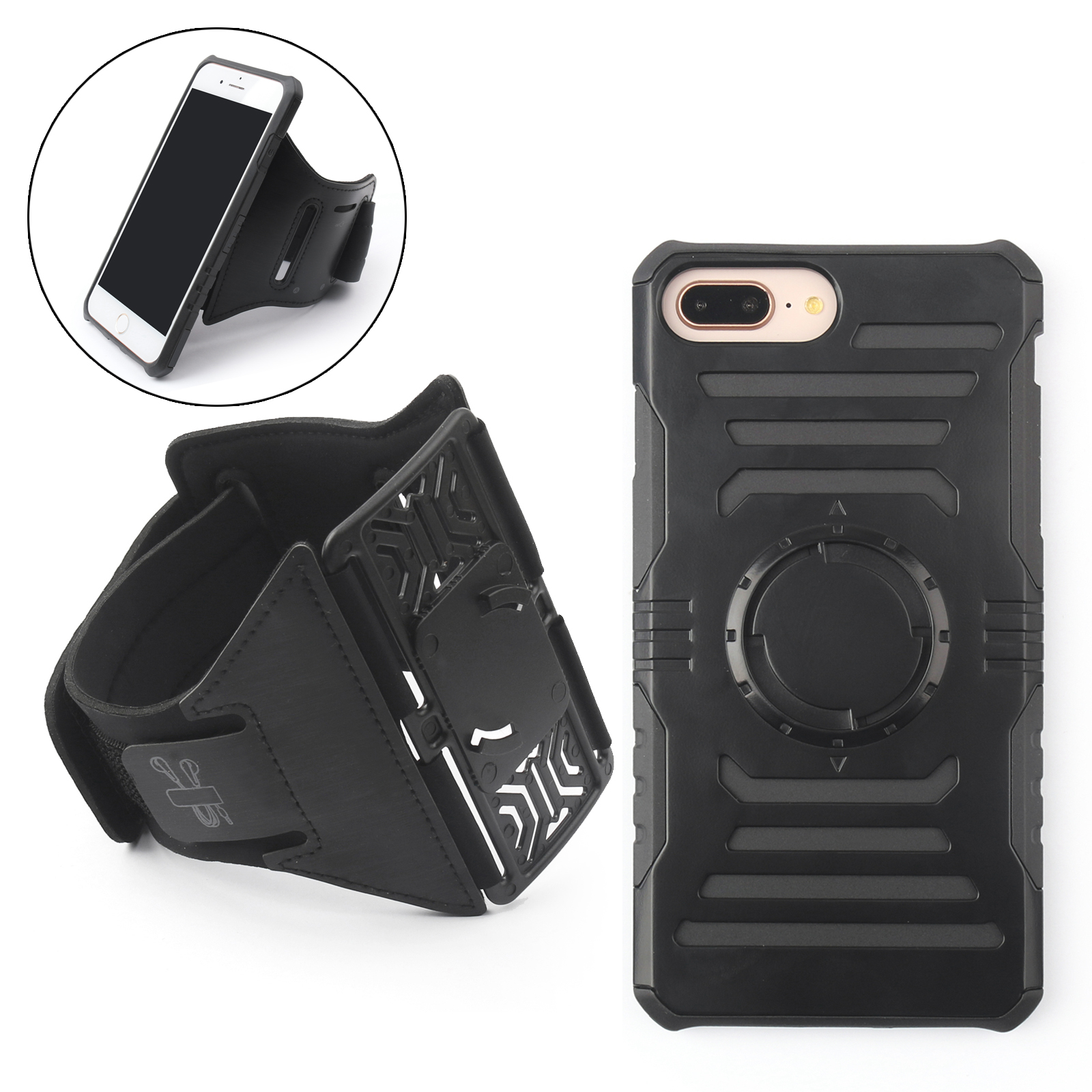 Areyourshop Armband Arm Band Sports Shockproof Magnetic Case For Iphone 6 6S 7 8 Plus Black