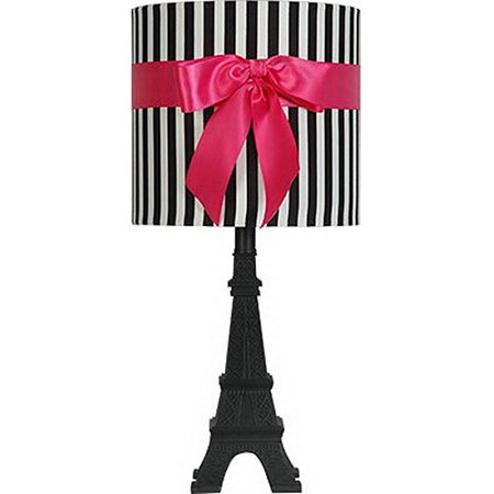 Your Zone Paris Table Lamp with Black and White Stripped - Black And White Strips
