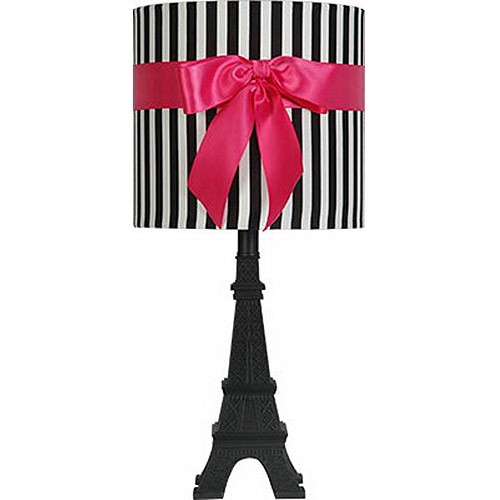 Your Zone Paris Table Lamp with Black and White Stripped Shade