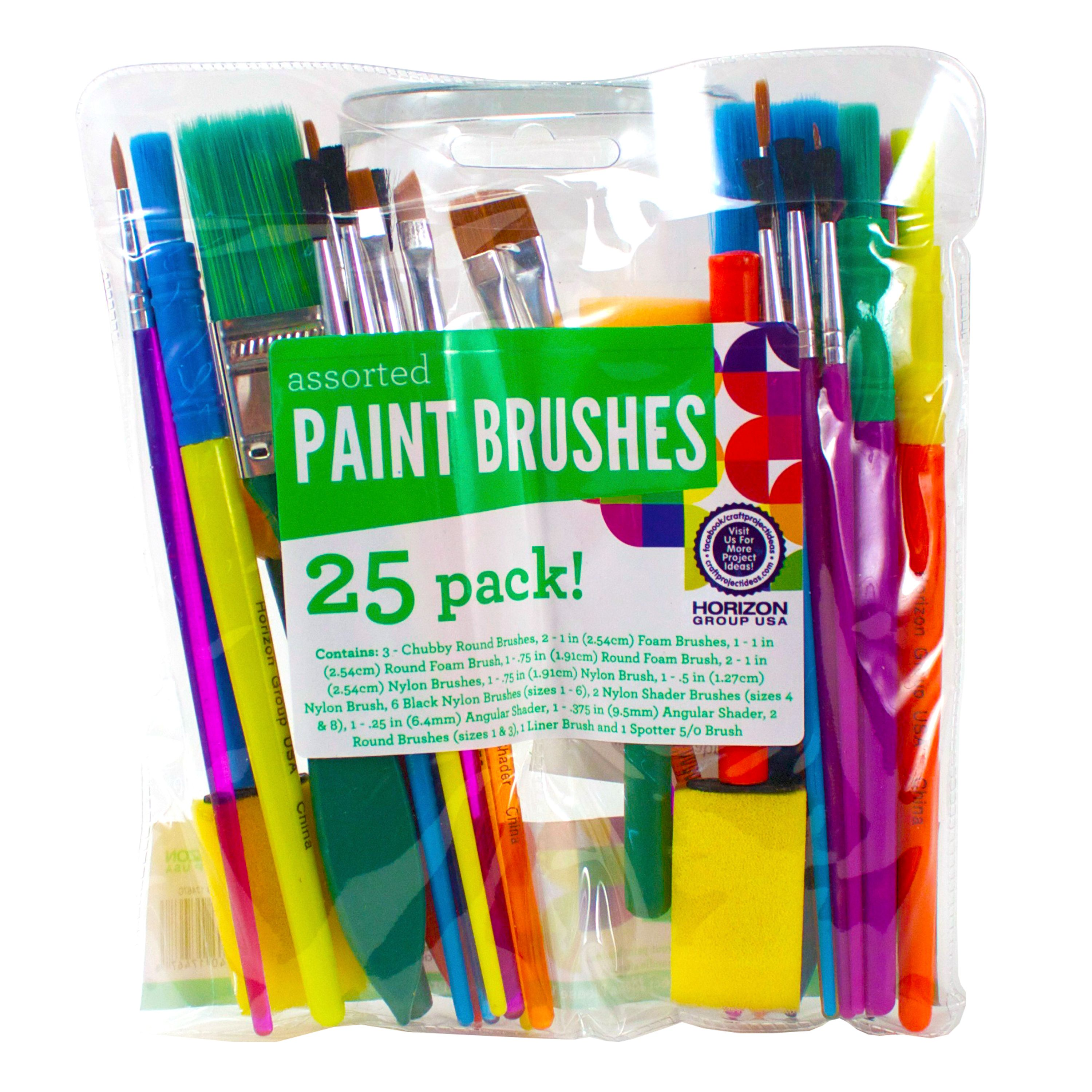Assorted Paint Brushes, 25 Pack by Horizon Group USA