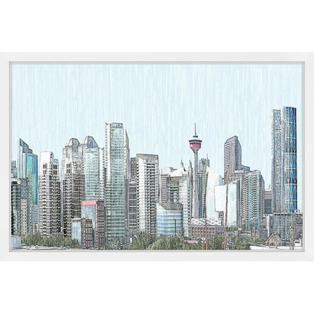 Calgary Skyline  Framed Painting Print